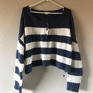 AE Blue Striped Henley Sweater